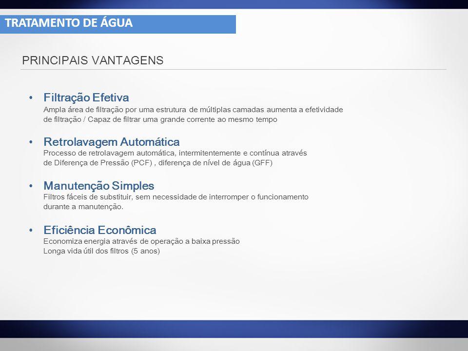 TRATAMENTO DE ÁGUA PRINCIPAIS VANTAGENS Filtração Efetiva