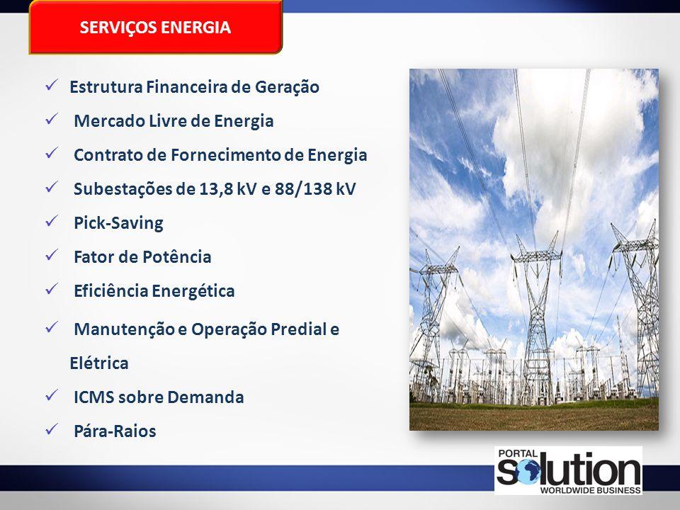 SERVIÇOS ENERGIA Estrutura Financeira de Geração. Mercado Livre de Energia. Contrato de Fornecimento de Energia.