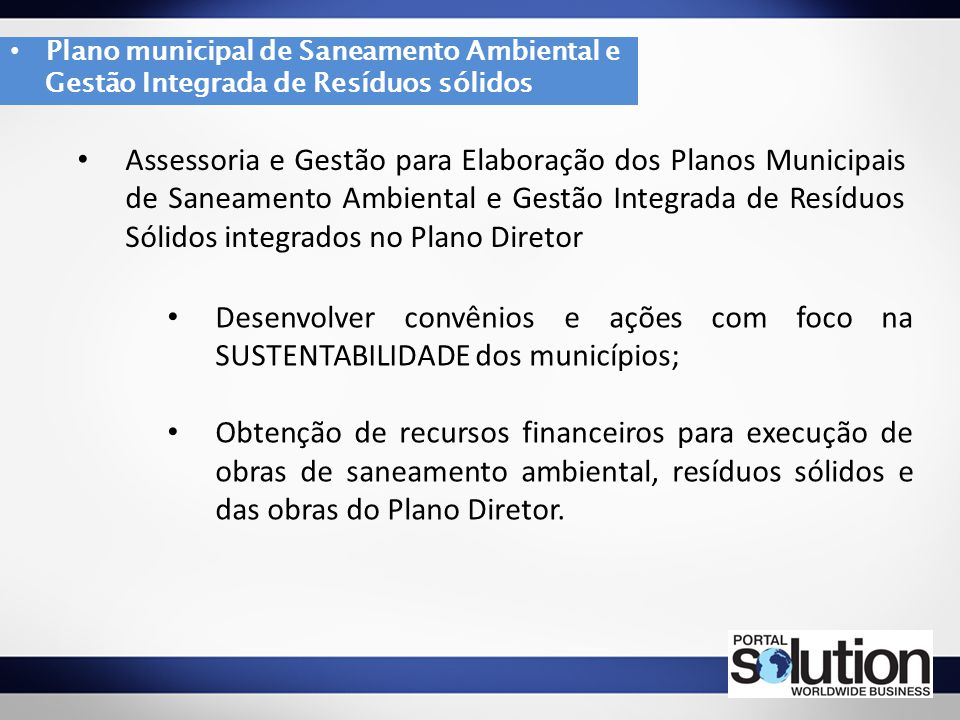 Plano municipal de Saneamento Ambiental e