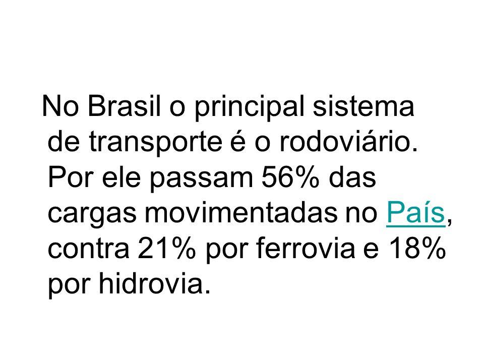 No Brasil o principal sistema de transporte é o rodoviário