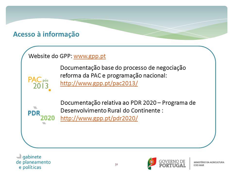Acesso à informação Website do GPP: www.gpp.pt