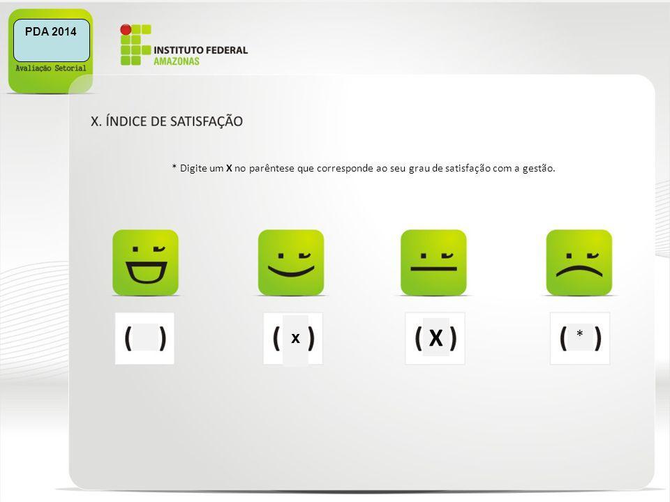 PDA 2014 * Digite um X no parêntese que corresponde ao seu grau de satisfação com a gestão. X x *