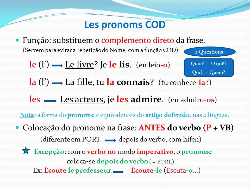 Les pronoms COD le (l') Le livre Je le lis. (eu leio-o)