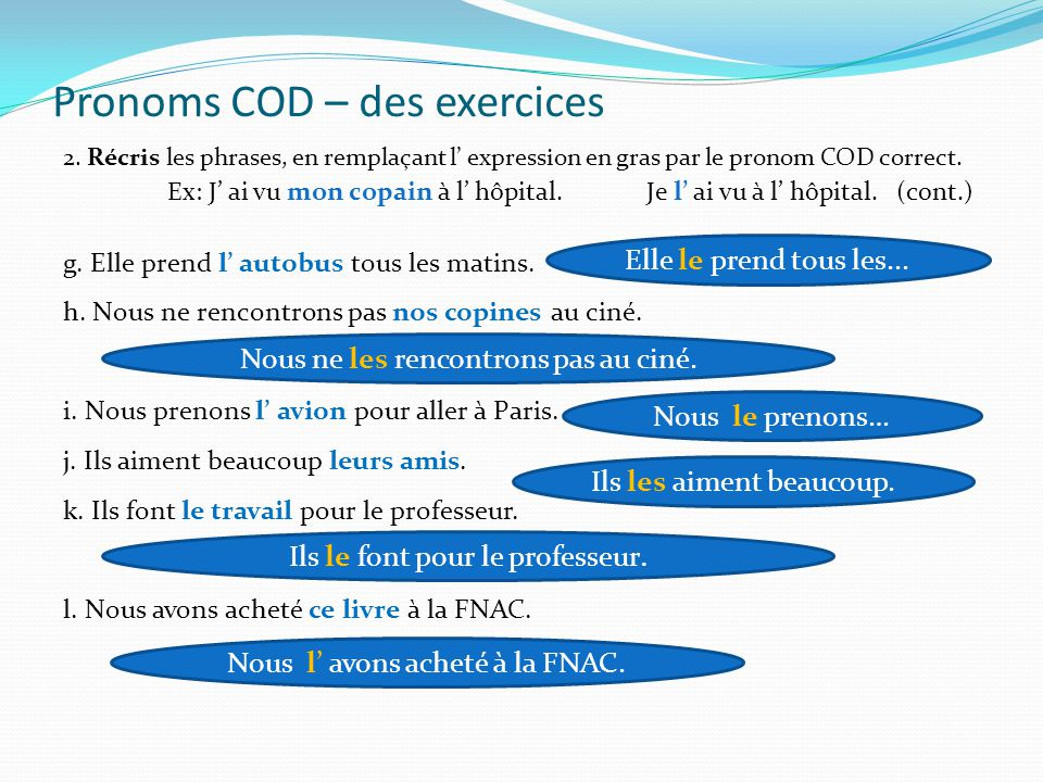 Pronoms COD – des exercices