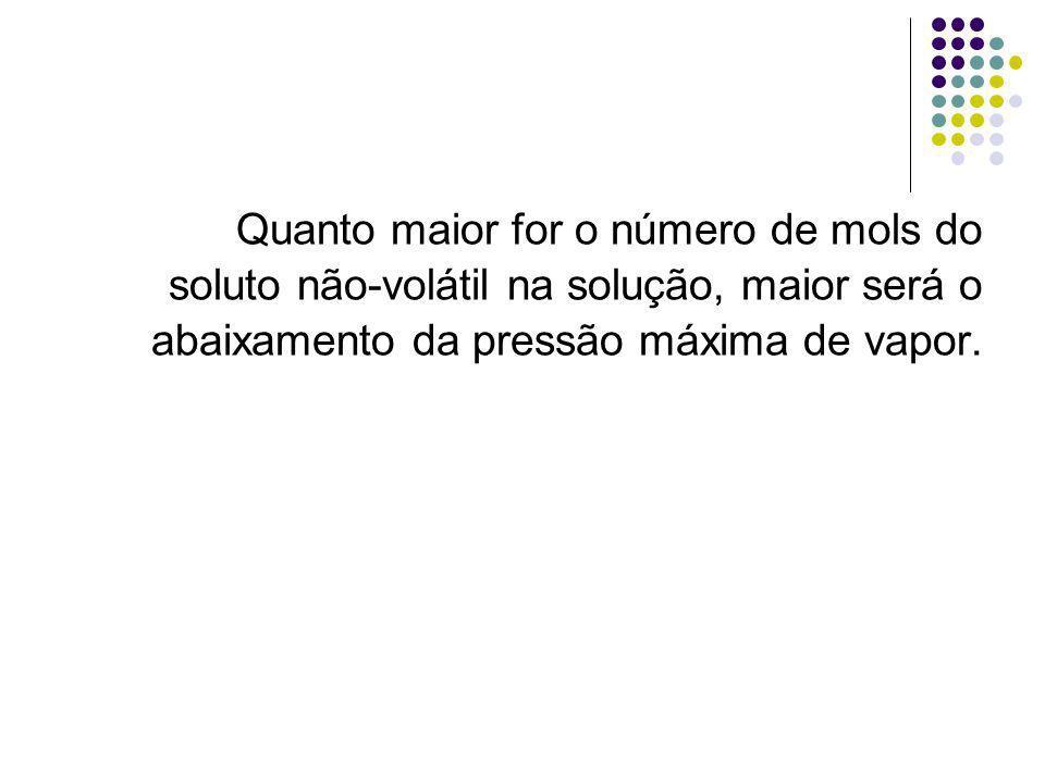 Quanto maior for o número de mols do soluto não-volátil na solução, maior será o abaixamento da pressão máxima de vapor.