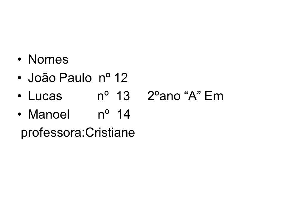 Nomes João Paulo nº 12. Lucas nº 13 2ºano A Em.