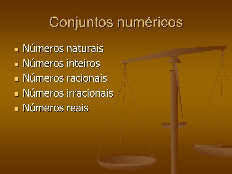 Conjuntos numéricos Números naturais Números inteiros