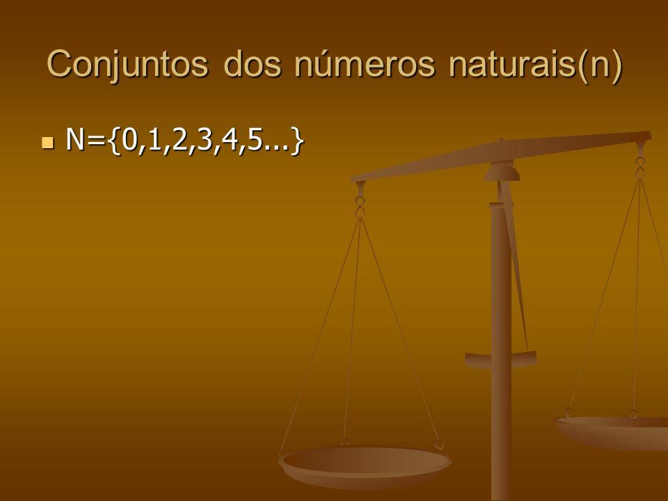 Conjuntos dos números naturais(n)