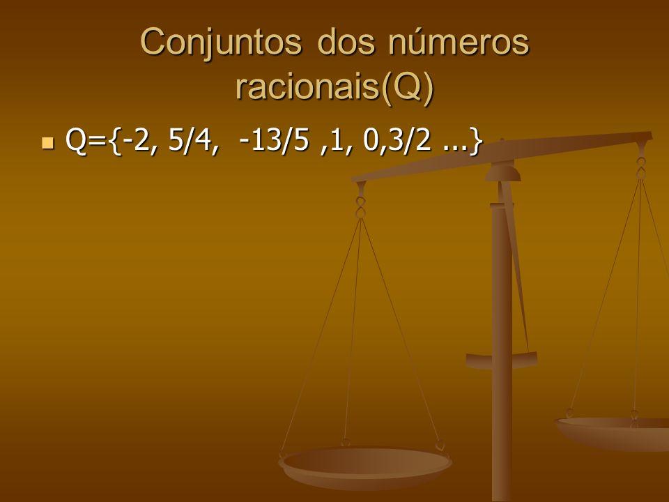 Conjuntos dos números racionais(Q)