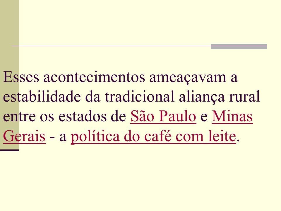 Esses acontecimentos ameaçavam a estabilidade da tradicional aliança rural entre os estados de São Paulo e Minas Gerais - a política do café com leite.
