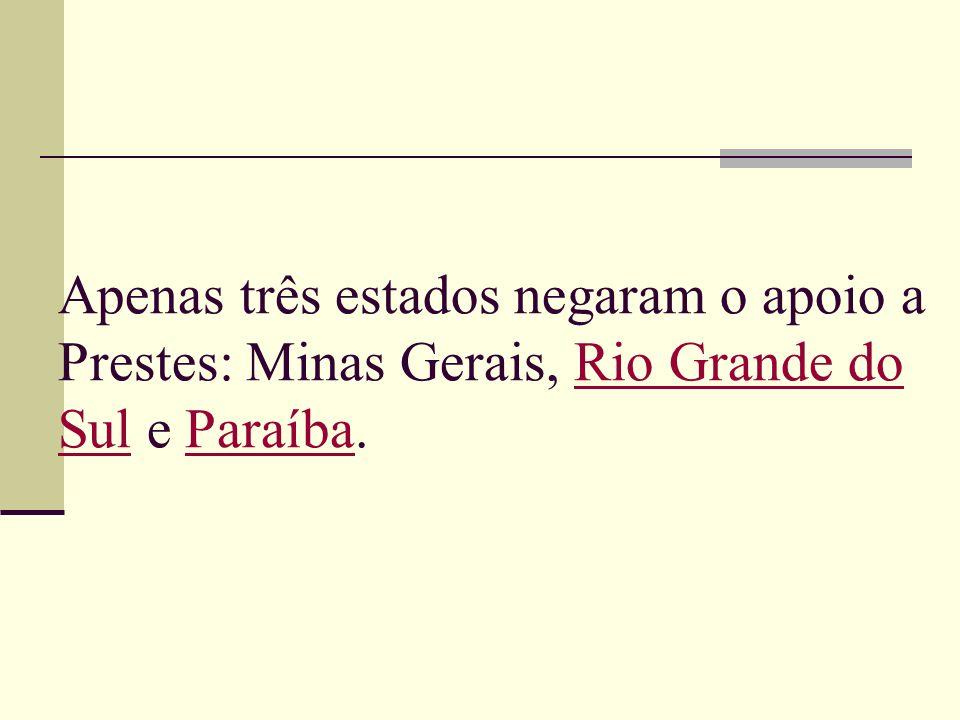 Apenas três estados negaram o apoio a Prestes: Minas Gerais, Rio Grande do Sul e Paraíba.