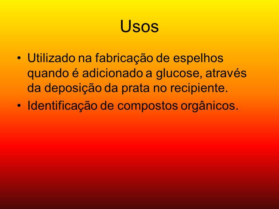 Usos Utilizado na fabricação de espelhos quando é adicionado a glucose, através da deposição da prata no recipiente.