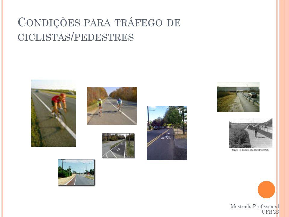 Condições para tráfego de ciclistas/pedestres