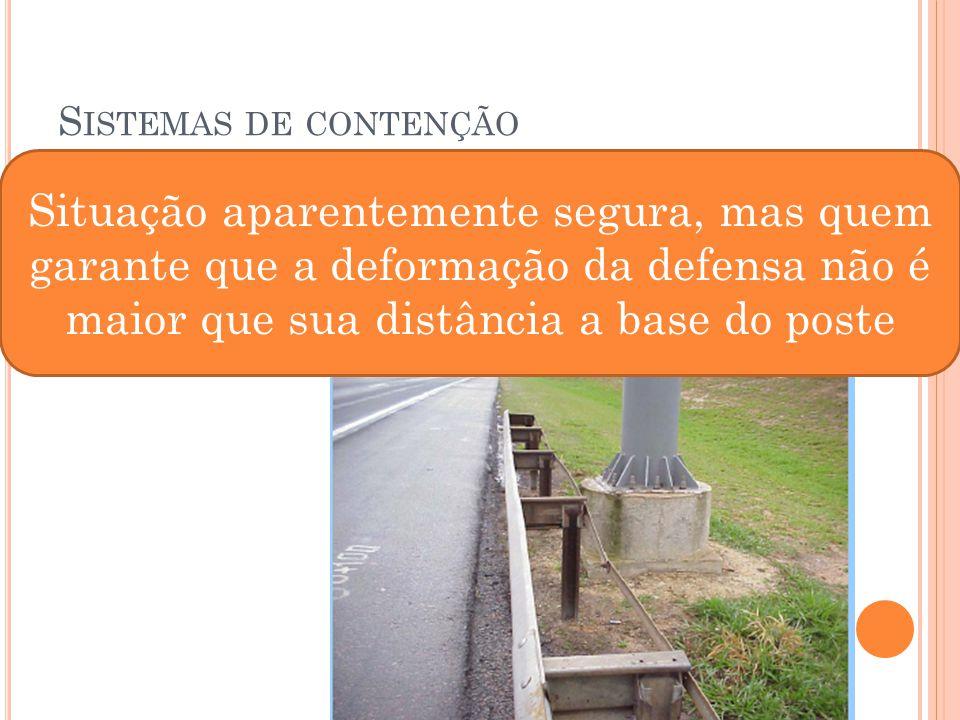 Sistemas de contenção Situação aparentemente segura, mas quem garante que a deformação da defensa não é maior que sua distância a base do poste.