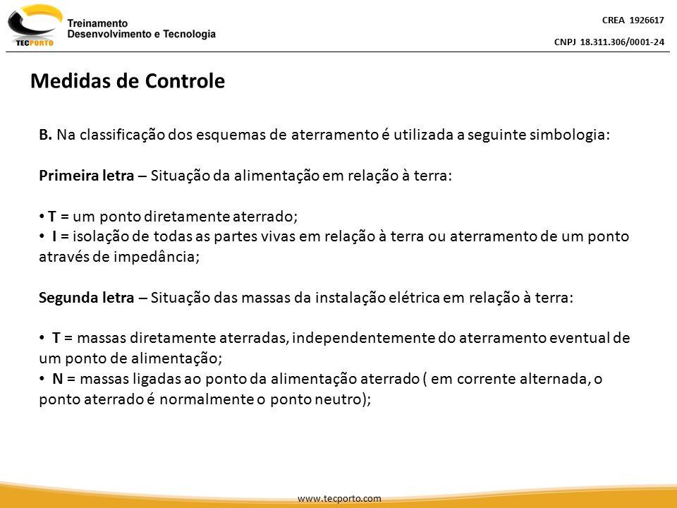 CREA 1926617 CNPJ 18.311.306/0001-24. Medidas de Controle. B. Na classificação dos esquemas de aterramento é utilizada a seguinte simbologia: