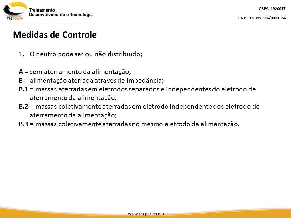 Medidas de Controle O neutro pode ser ou não distribuído;