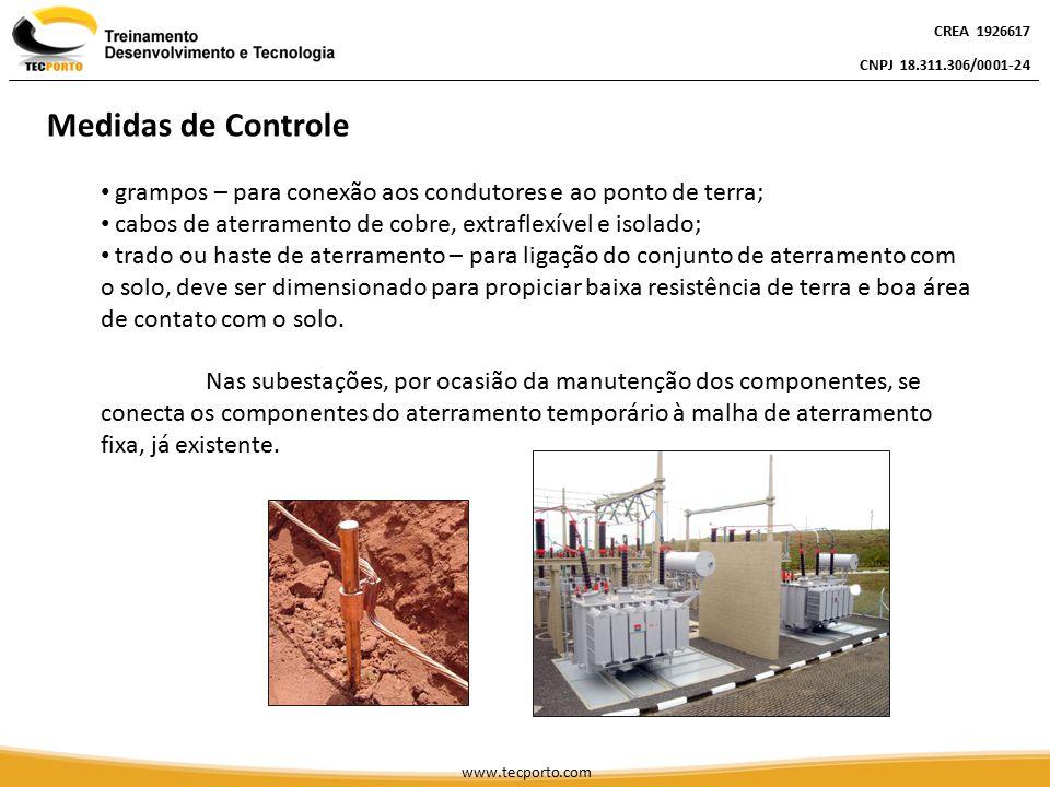 CREA 1926617 CNPJ 18.311.306/0001-24. Medidas de Controle. grampos – para conexão aos condutores e ao ponto de terra;