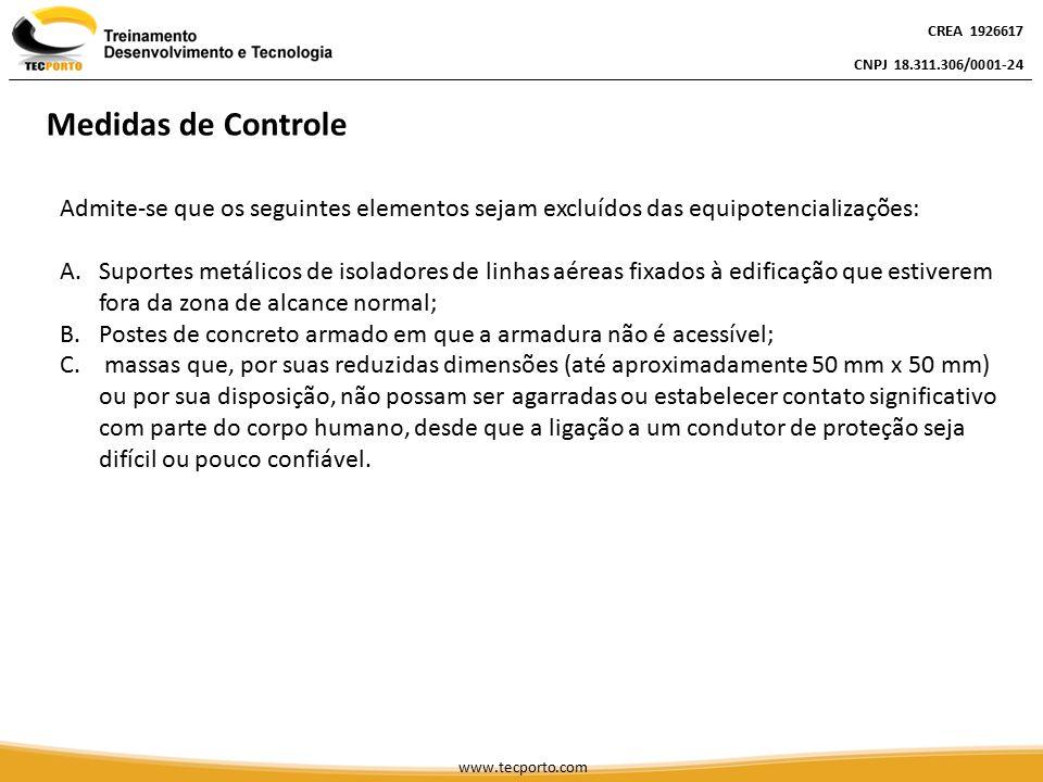 CREA 1926617 CNPJ 18.311.306/0001-24. Medidas de Controle. Admite-se que os seguintes elementos sejam excluídos das equipotencializações: