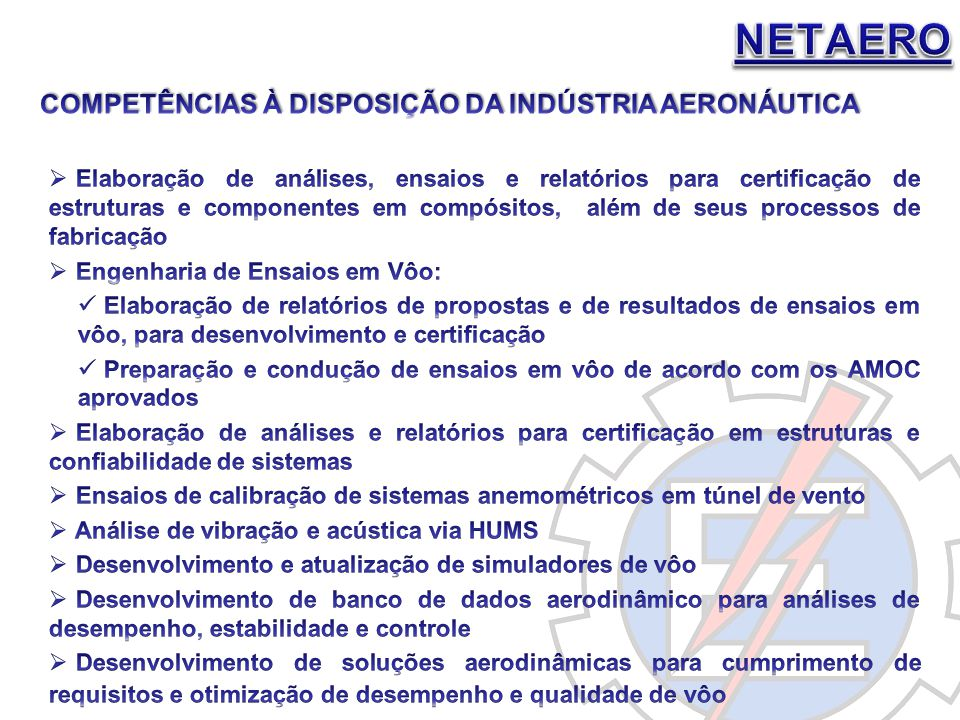 NETAERO COMPETÊNCIAS À DISPOSIÇÃO DA INDÚSTRIA AERONÁUTICA