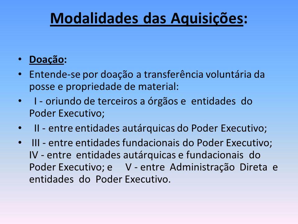 Modalidades das Aquisições: