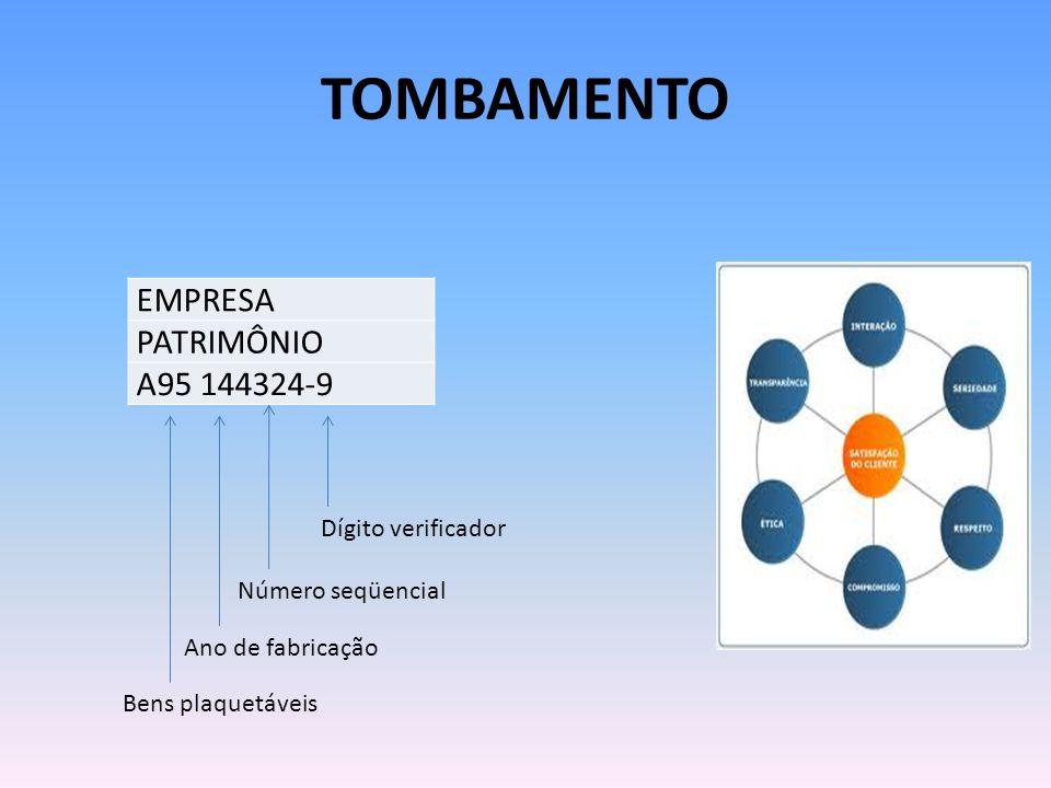Tombamento EMPRESA PATRIMÔNIO A95 144324-9 Dígito verificador