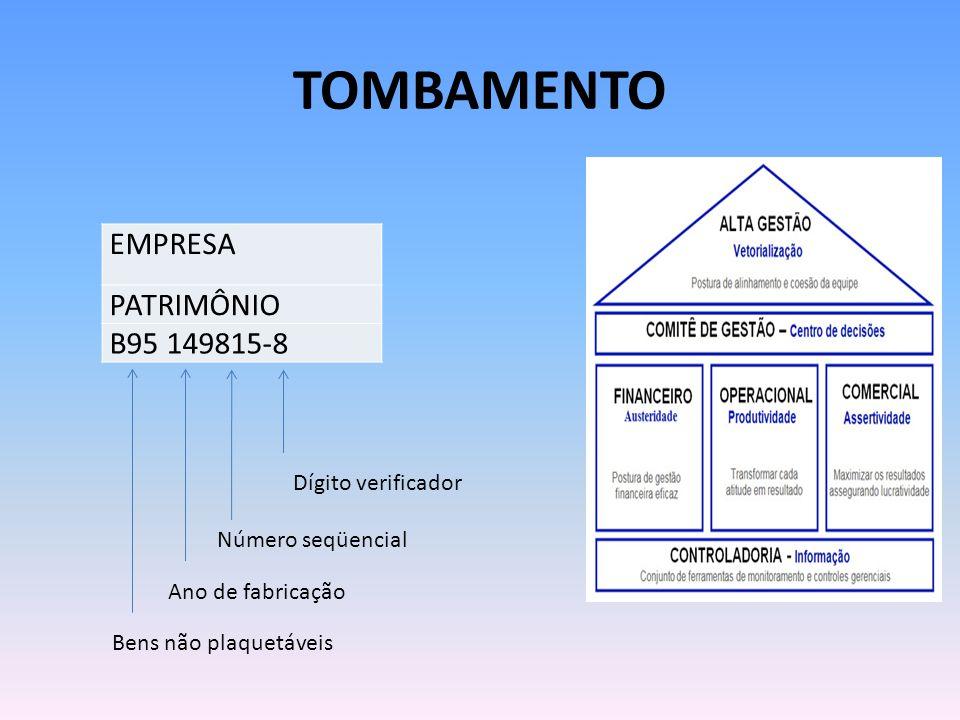 Tombamento EMPRESA PATRIMÔNIO B95 149815-8 Dígito verificador