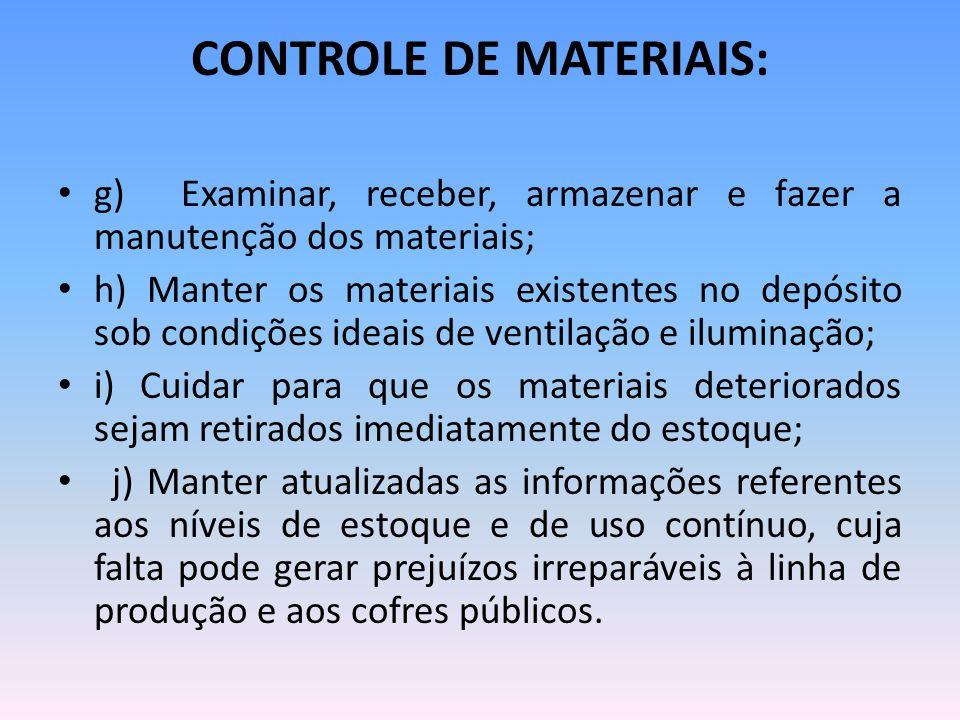 CONTROLE DE MATERIAIS: