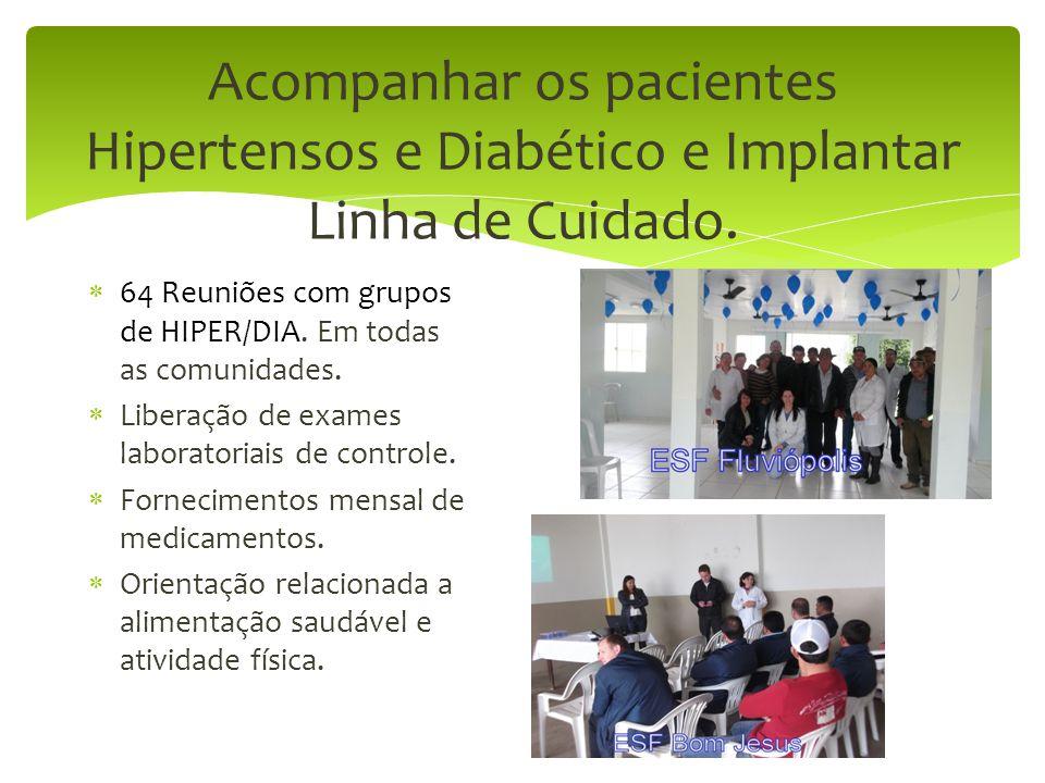 Acompanhar os pacientes Hipertensos e Diabético e Implantar Linha de Cuidado.