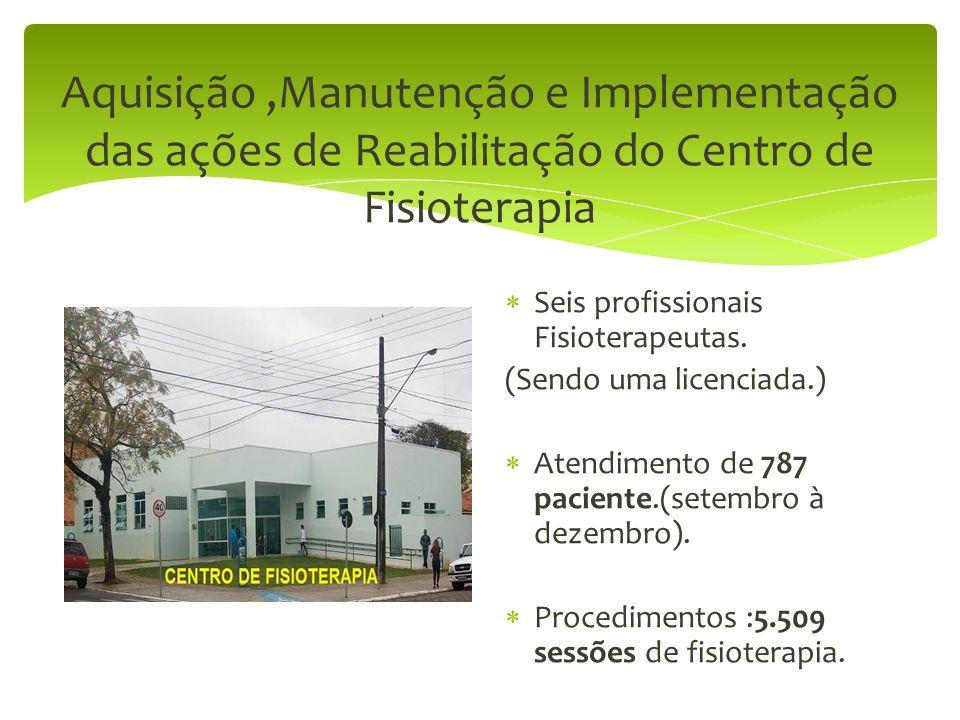 Aquisição ,Manutenção e Implementação das ações de Reabilitação do Centro de Fisioterapia