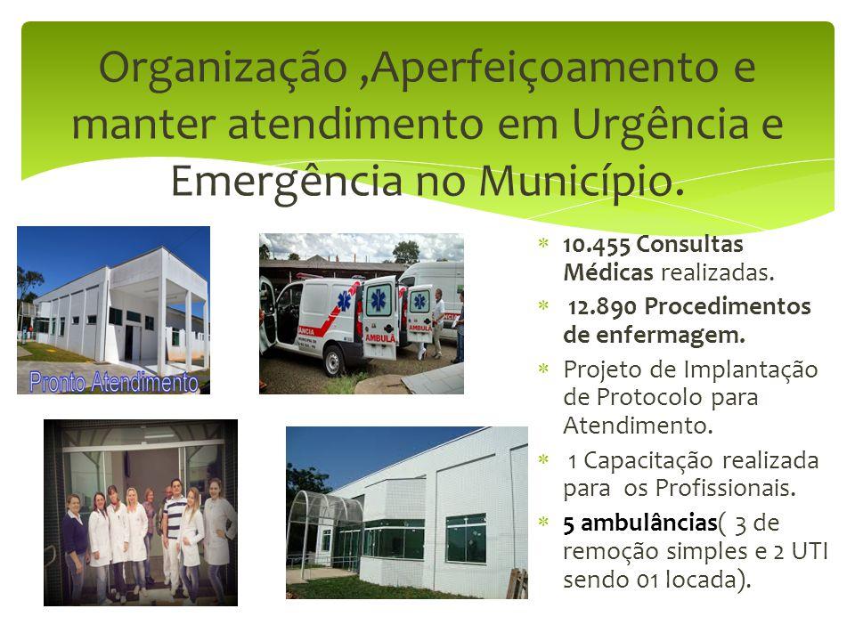 Organização ,Aperfeiçoamento e manter atendimento em Urgência e Emergência no Município.