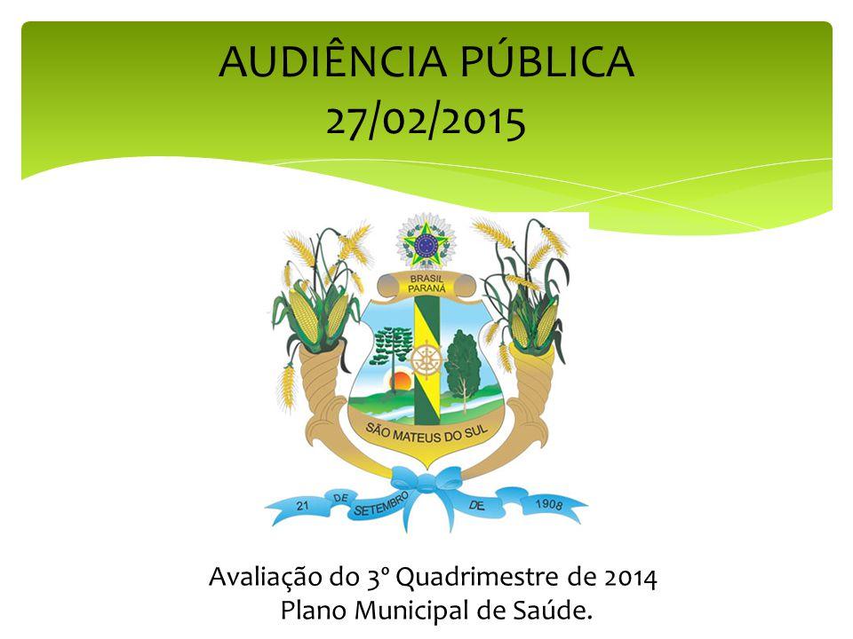 AUDIÊNCIA PÚBLICA 27/02/2015 Avaliação do 3º Quadrimestre de 2014