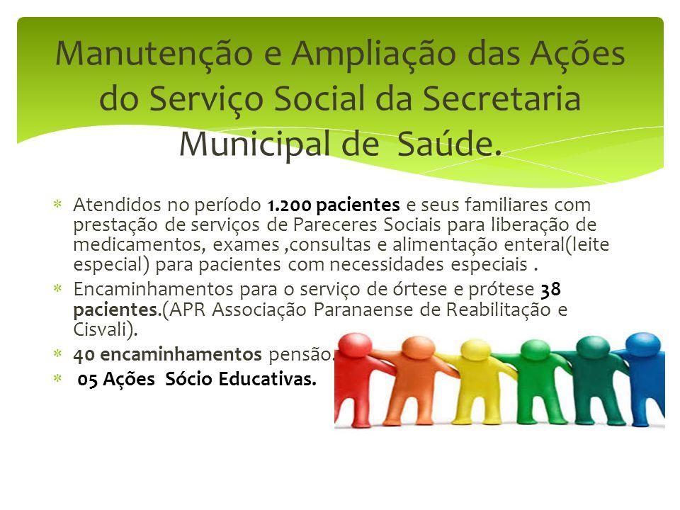Manutenção e Ampliação das Ações do Serviço Social da Secretaria Municipal de Saúde.