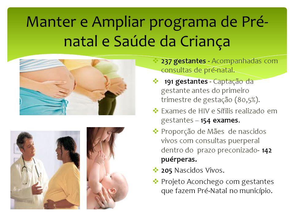 Manter e Ampliar programa de Pré-natal e Saúde da Criança