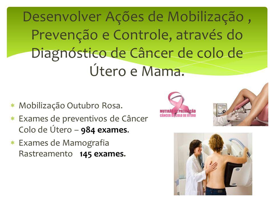 Desenvolver Ações de Mobilização , Prevenção e Controle, através do Diagnóstico de Câncer de colo de Útero e Mama.