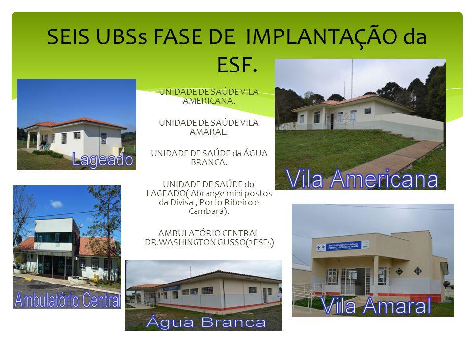 SEIS UBSs FASE DE IMPLANTAÇÃO da ESF.