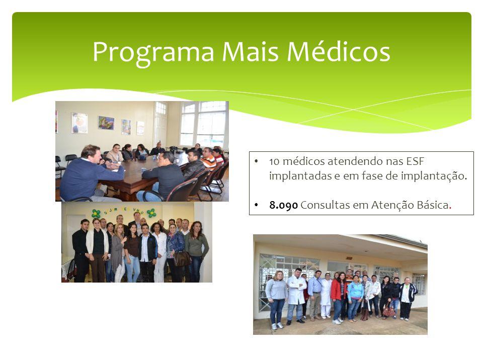 Programa Mais Médicos 10 médicos atendendo nas ESF implantadas e em fase de implantação.