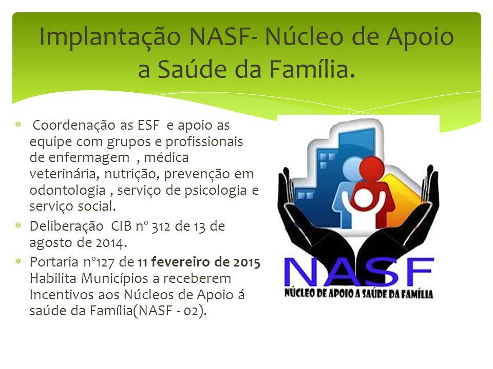Implantação NASF- Núcleo de Apoio a Saúde da Família.