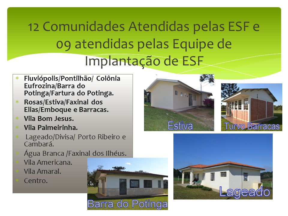 12 Comunidades Atendidas pelas ESF e 09 atendidas pelas Equipe de Implantação de ESF