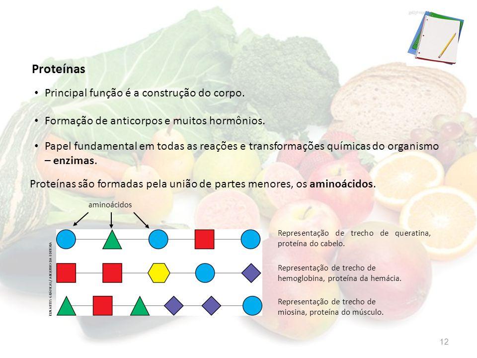 Proteínas Principal função é a construção do corpo.