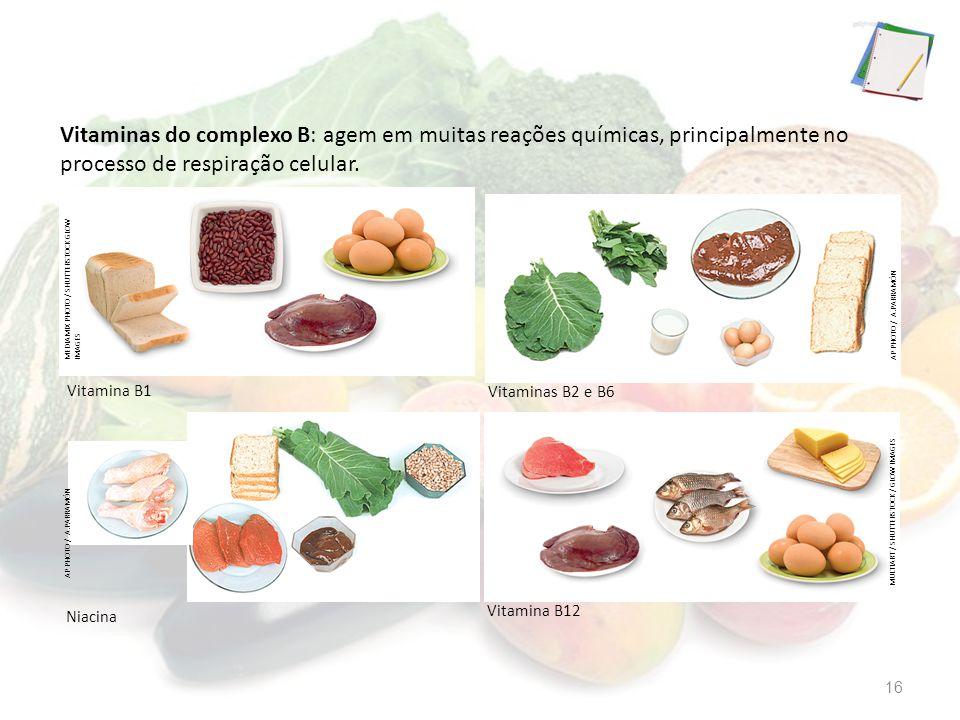 Vitaminas do complexo B: agem em muitas reações químicas, principalmente no processo de respiração celular.