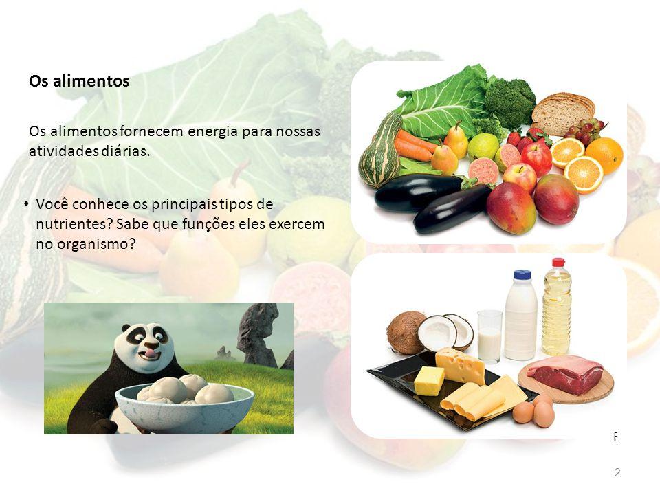 Os alimentos Os alimentos fornecem energia para nossas atividades diárias.