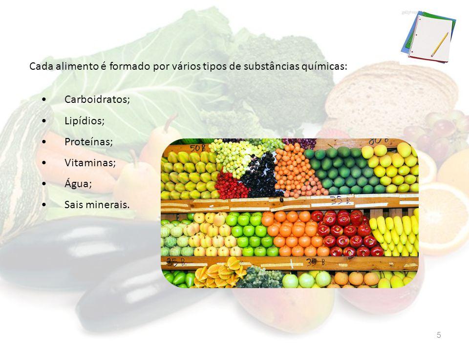 Cada alimento é formado por vários tipos de substâncias químicas: