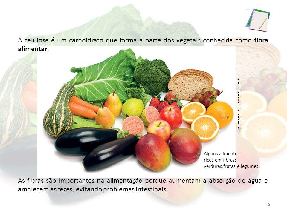 A celulose é um carboidrato que forma a parte dos vegetais conhecida como fibra alimentar.