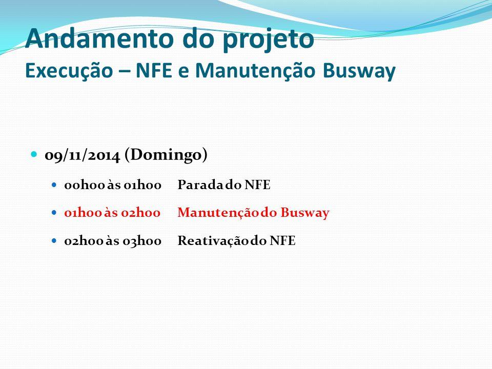 Andamento do projeto Execução – NFE e Manutenção Busway