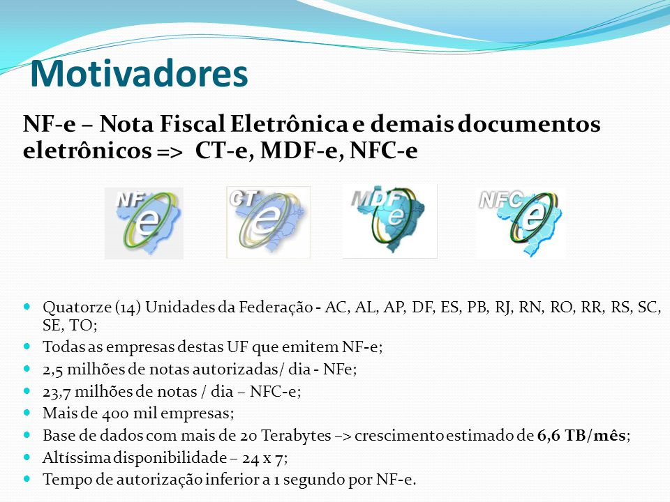 Motivadores NF-e – Nota Fiscal Eletrônica e demais documentos eletrônicos => CT-e, MDF-e, NFC-e.