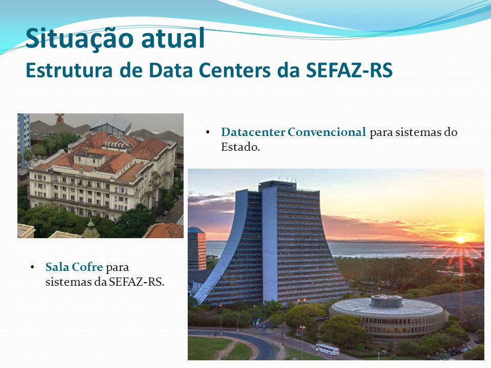 Situação atual Estrutura de Data Centers da SEFAZ-RS