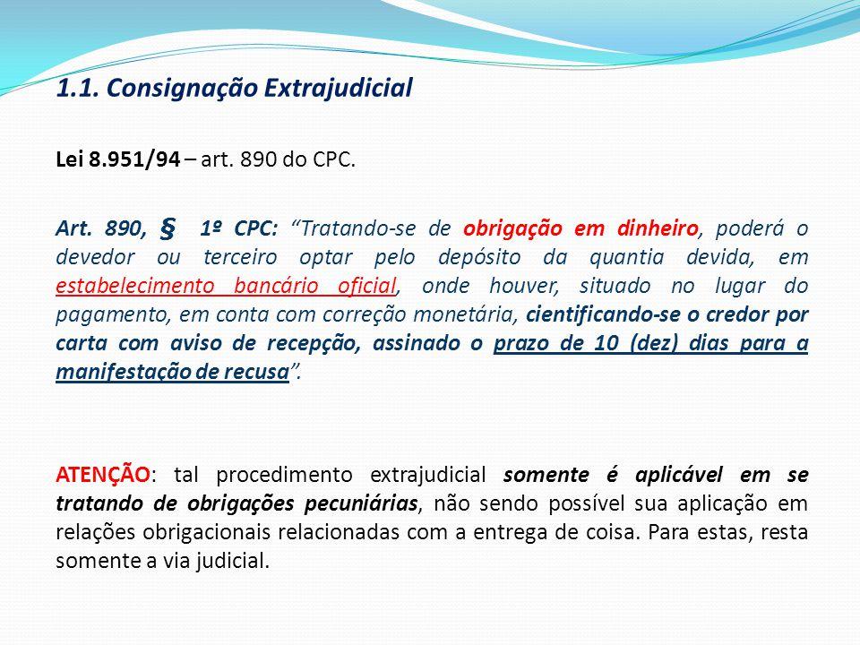 1.1. Consignação Extrajudicial