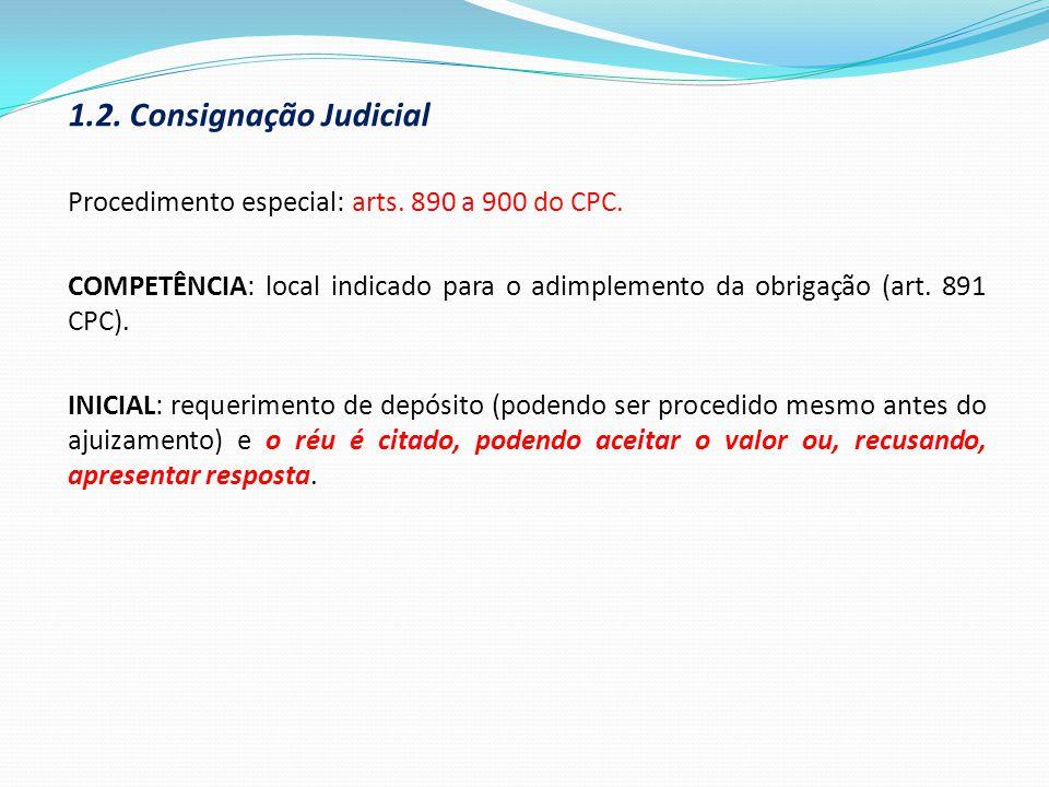 1.2. Consignação Judicial Procedimento especial: arts. 890 a 900 do CPC.