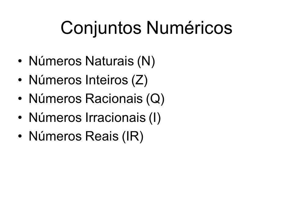 Conjuntos Numéricos Números Naturais (N) Números Inteiros (Z)