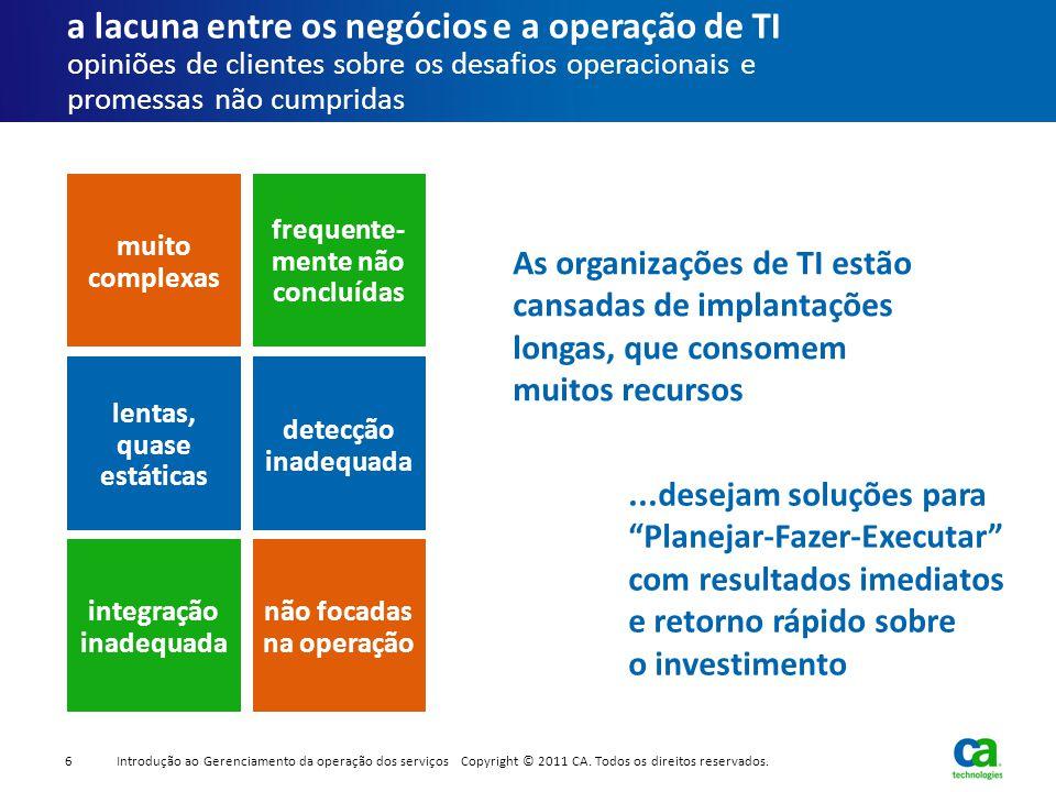 a lacuna entre os negócios e a operação de TI opiniões de clientes sobre os desafios operacionais e promessas não cumpridas